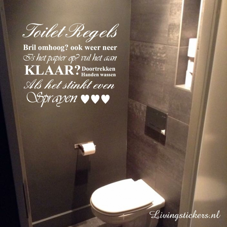 Muursticker Toilet Regels - Muurstickers Toilet/Badkamer - Stickers ...
