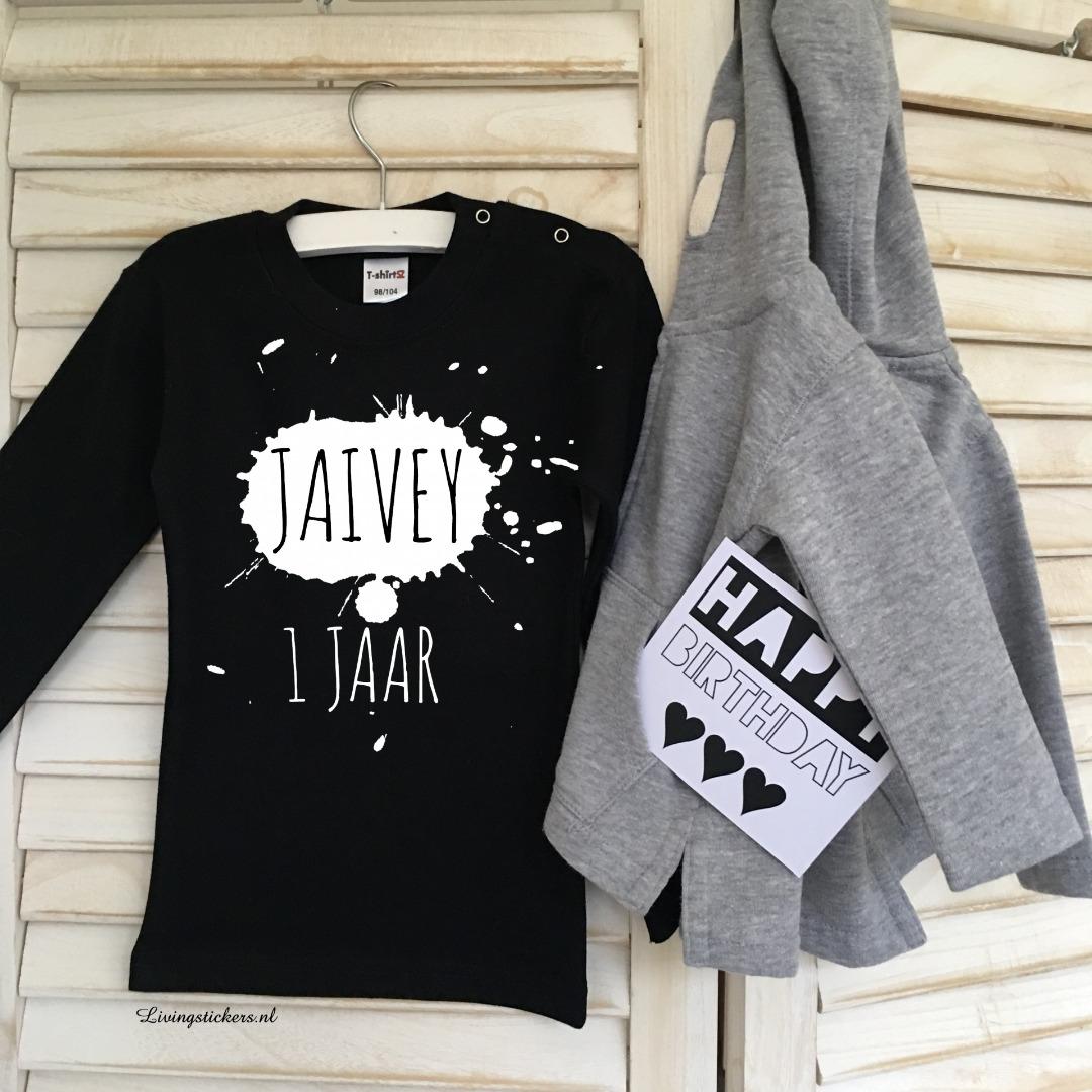 Voorkeur Verjaardag shirt verfspat met naam 1 jaar - Verjaardag shirts #MH91